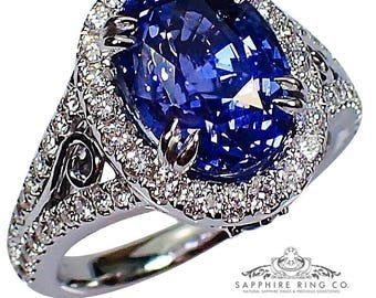 Untreated Color Change Ceylon Sapphire Ring, GIA  5.59 ct Oval Sapphire - 3125