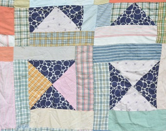"""1940s Vintage Patchwork Quilt Top Shabby Chic Cottage Farmhouse Sewing Crafts Cutter Quilt Home Decor 78"""" x 62"""""""