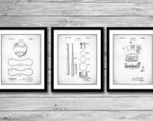 Baseball Patent Posters Group of 3, Baseball Bat, Glove, Baseball Decor, Baseball Coach, Sports Wall Art, P529