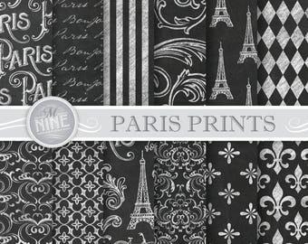 Chalk PARIS Digital Paper / Chalk Paris Printables / Parisian Patterns Prints, Chalk Paris Downloads, 12 x 12 Paris Scrapbook Paper