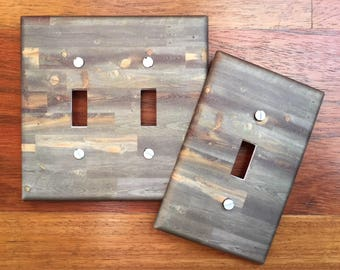 Rustic wood light switch plate cover // reclaimed wood grey brown weathered image // SAME DAY SHIPPING**