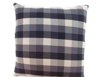 Black, Grey / Charcoal, White Twill Plaid-Invisible Zipper Pillow Cover Gray-Bedroom-Party-RV-Nursery