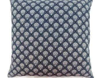 Charcoal, Black and White Mediallion-Invisible Zipper Pillow Cover Gray-Throw Pillow Cover-Party-Bedroom-Decor