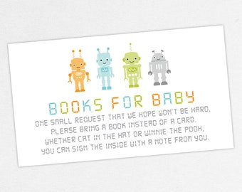 INSTANT DOWNLOAD Books for Baby Card, Baby Shower Books for Baby, Books for Baby PDF, Diy, Robot Shower, Robot Books for Baby Card, Baby Bot