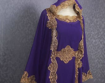 Smaller Hoodie Caftan Purple Gold Embroidered Dress Dubai Gold Embroidery Chiffon Wedding Teen or Smaller Women Bridesmaid Kaftan Maxi Dress