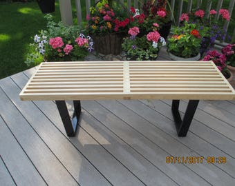 custom hard maple slat bench