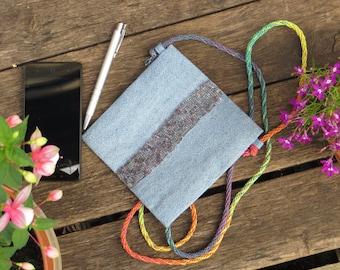 Linen Denim Crossbody Bag / Shoulder Bag / Eco Friendly / Women's Shoulder Bag