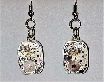 Steampunk Earrings with Vintage Watch Movement #12