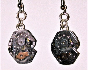 Steampunk Earrings with Vintage Watch Movement #11