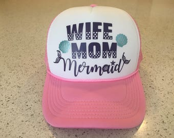 WIFE MOM Mermaid - Snap Back Trucker - Pink White Adult Womens
