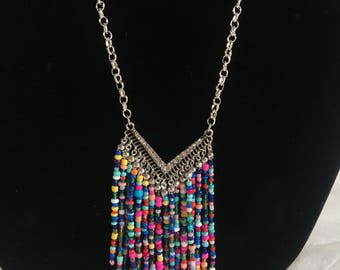 Silver necklace with rainbow chevron