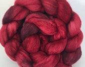 Cherry Bomb - hand dyed combed tops 100g spinning felting red