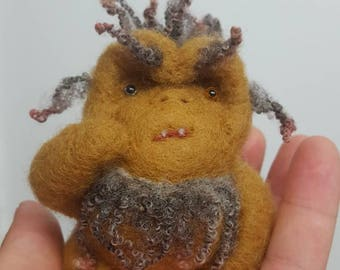 Ooak needle felted troll cute goblin faery