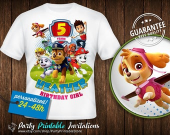 Paw Patrol Shirt Girl, Paw Patrol Birthday Shirt Girl, Paw Patrol Shirt Iron On, Iron on Transfer, Paw Patrol Party,Paw Patrol Shirt Iron On