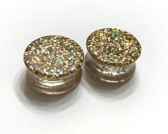 "24mm (1"") Glitter Plugs - Double Flared Plugs - Gauges - Handmade Earrings"
