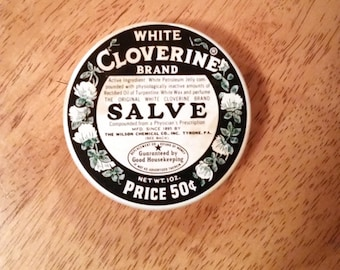 Vintage White Cloverine Salve Litho Tin 50 Cent Style Rare With Good Housekeeping Seal Collectible Medicine Container Home Decor Accent