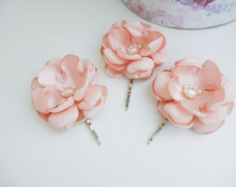 Set of 3 Blush pink Flowers Hair Bobby pins Bridal Hair Pins Bridesmaid Hairpins Wedding hair pins Blush pink flower, Blush pink hair flower