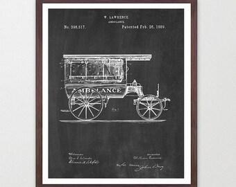 Ambulance Patent Art - Ambulance Poster - Paramedic - Paramedic Poster - Paramedic Patent - Nurse - Doctor - Hospital Art - EMT - EMT Poster