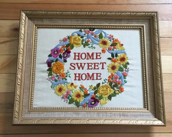 Vintage 1970s Home Sweet Home Floral Wreath Framed Crewel Embroidery Picture!