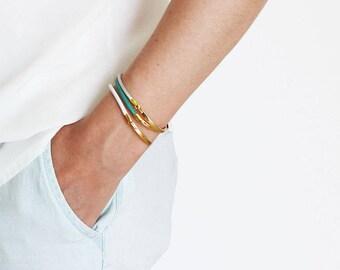Gold Bar Bracelet, Gold Bar White Leather Bracelet, Gold White Leather Bangle, Minimalist Leather Bracelet.