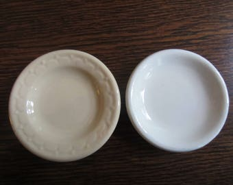 Two Vintage Stoneware Butter Pats/ Cream Butter Pat/ White Butter Pat/ Trinket Dish/ Small Dish/ Collectible/ Soap Dish/ Vintage Kitchen/