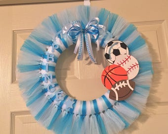 Blue and White Boy/Prince Tulle Wreath