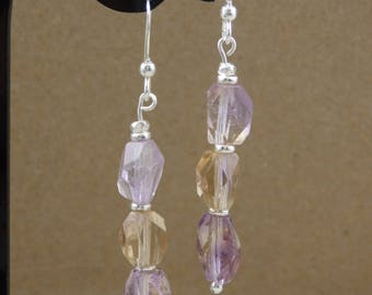 Ametrine Polished Cut Nugget Sterling Dangle Earrings