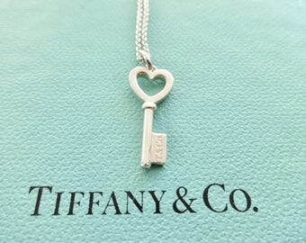 Tiffany & Co. Sterling Silver Small Heart Key on Tiffany 16 Inch Chain