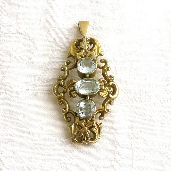 Antique gold plated filigree pendant with 3 large faceted blue topaz stones, lovely foliate setting, late Victorian, circa late 1800s