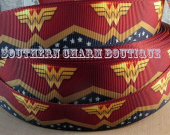 "3 yards of 1"" Wonder Woman grosgrain ribbon"