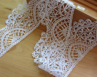 bobbin lace trim ,handemade cotton bobbin lace,white lace trimming