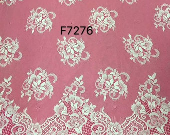 """Floral wedding dress lace ,Chantilly Lace ,eyelash Lace Fabric,flower pattern lace,off  White Chantilly Lace fabric 59"""" width-7276"""