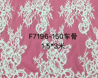 Chantilly corded Lace fabric, Chantilly Lace Fabric, 59inches Wide for Veil, Dress, Costume, Craft Making-7196C