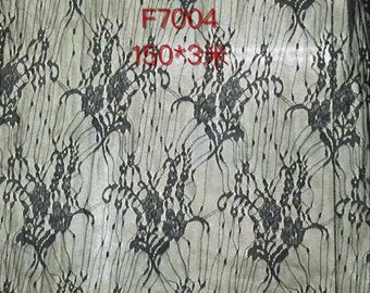"Black Floral dress lace ,eyelash Lace Fabric sell by yard ,off  White Chantilly Lace fabric  for wedding 59"" width-7004"