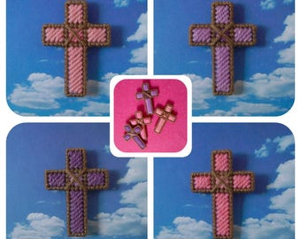 Plastic Canvas: Lenten Cross Magnets (set of 4)