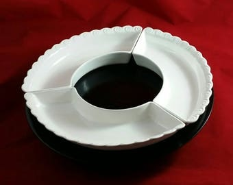 lazy susan w white dish option vintage tray rotating black painted wood elevated kitchen table platter