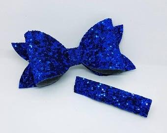Blue hair clip, back to school, royal blue hair bow, school hair clip set, school hair bow, blue hair slide, Hair Clip set, blue glitter Bow