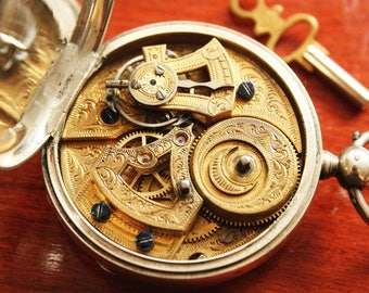 Antique DUPLEX Pocket Watch - Bovet Fleurier - Sterling SIlver