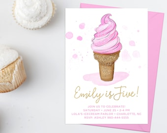 Ice-cream Cone Birthday Invitation, Pink and Gold Glitter, First Birthday, Personalized Birthday Invite, Baby Girl Birthday, Ice Cream Party