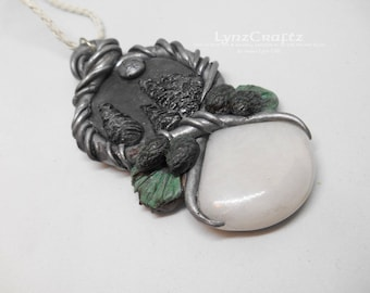 Long Winter Nights silver & white polymer clay and resin jewelry pendant necklace handmade One of a Kind