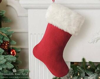 Linen Christmas Stocking, Linen Stocking, Red Linen Christmas Stocking, Red Linen Stocking, Linen with Fur Stocking