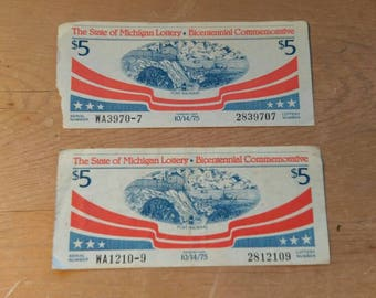 Vintage the state of Michigan lottery bicentennial tickets Antique lottery collectible tickets 5.00 commemorative ticket 1975 lot of 2