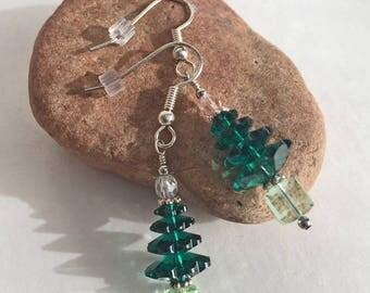 Emerald Green Crystal Holiday Tree Earrings