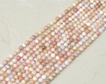 Pink Peruvian Opal Smooth Polished Bead - Pink Opal Bead - Peruvian Pink Opal - Half Strand - 6mm