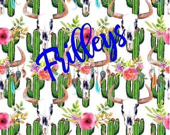 Cactus, Cow Skull, FLoral, Cactus Flowers, Craft vinyl HTV or Adhesive vinyl