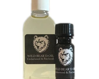 Cedarwood and Patchouli Beard & Moustache Oil 10ml 50ml, Natural Grooming Balm Hair Gift