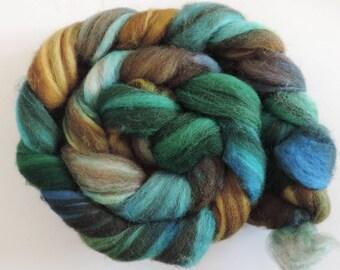 Shetland multicolor,Eyes of Mermaid, 120g top, Kammzug, handgefärbte Fasern zum Spinnen und Filzen