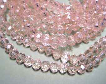 1 Strand Transparent Pink Faceted Rondelle Glass Beads 4x3mm ( No.08A)