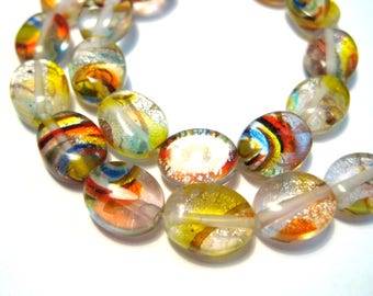 1 Strand Handmade Lamp work Glass Beads 10x7mm Oval