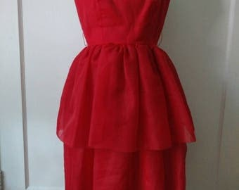1950s Bonwit Teller Red Chiffon Party Dress